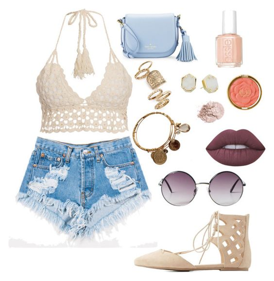 """SUMMER"" by alexandriaguzzy on Polyvore featuring Levi's, Kate Spade, Wild Diva, Topshop, Kendra Scott, Monki, Essie, Milani and Lime Crime"