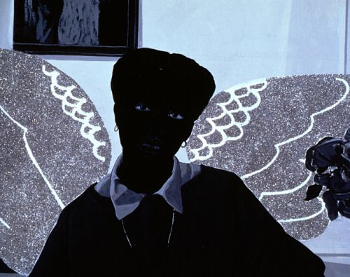 Kerry James Marshall Souvenir III, detail, 1998 acrylic with glitter on unstretched canvas banner 9 x 13
