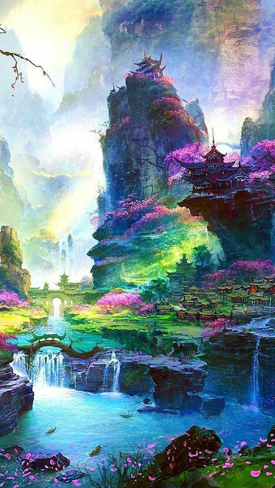 Epic Colourful Fantasy Landscape Art Illustration Landscape Epic Visuals Art Mountains China Asia Illu Fantasy Landscape Anime Scenery Nature Pictures
