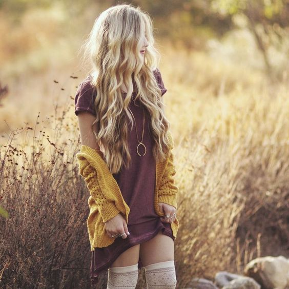 Top 20 fall fashion ideas. Mini dress and mustard cardigan.