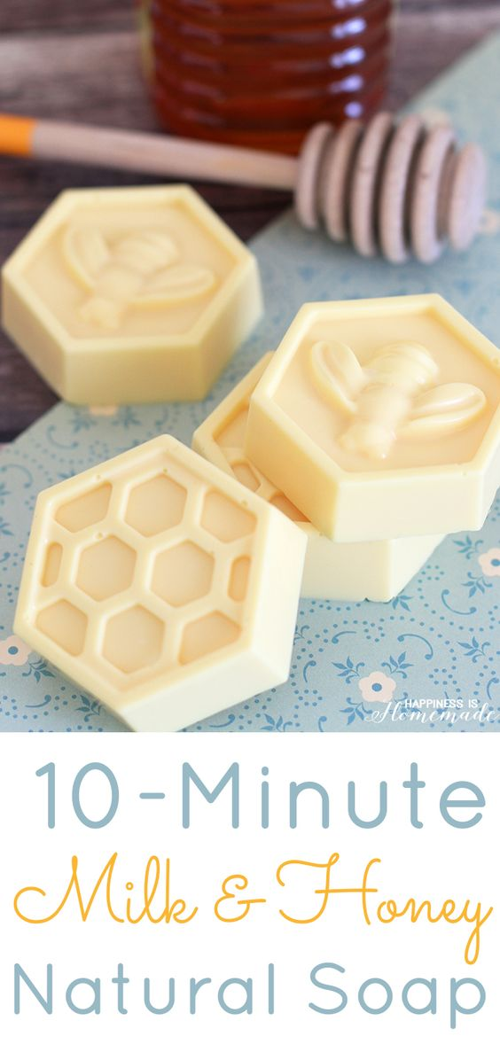 Milk & Honey Soap: This easy DIY soap can be made in about 10 minutes & has great skin benefits from the goat's milk and honey. Great homemeade gift idea!:
