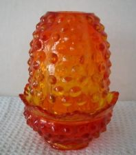 FENTON AMBER HOBNAIL 2 Piece FAIRY LAMP CANDLE HOLDER SIGNED