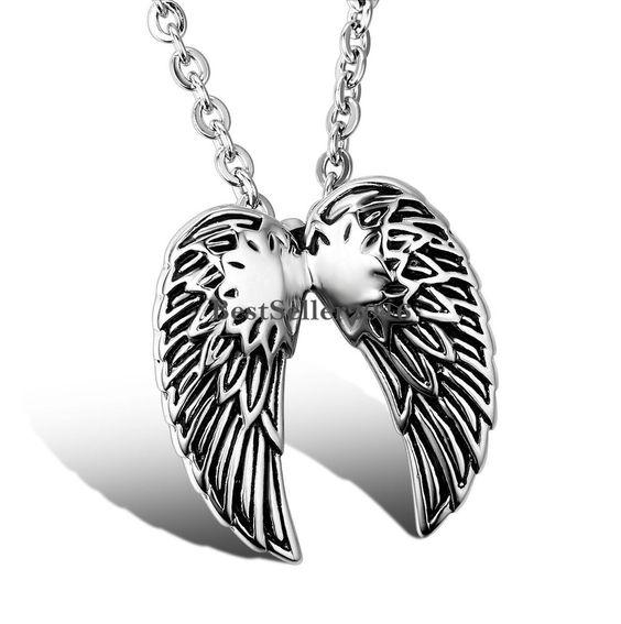 Edelstahl Anhänger zwei Engel Engelsflügel Halskette Kette Modeschmuck