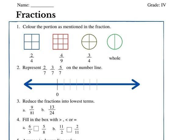Fractions Worksheets For Grade 4 Fractions Worksheets Fractions Number Line Division on number line worksheets