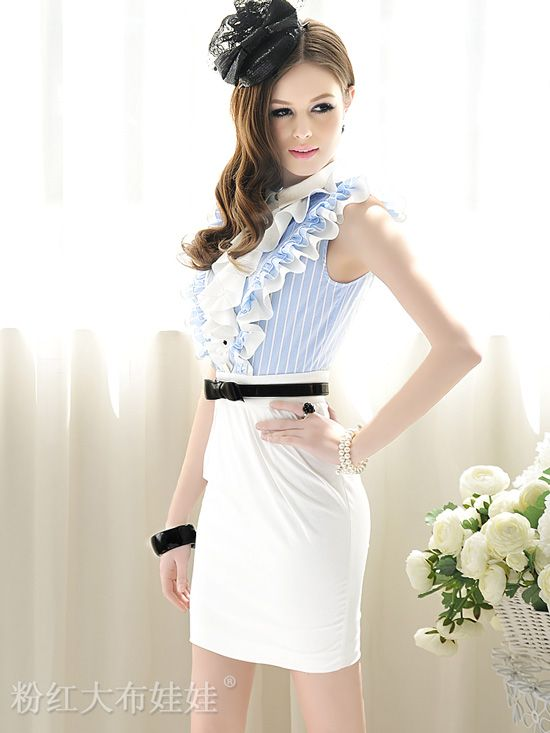 New Fashion Lotus Edge Stripe Sleeveless Office Lady Dress