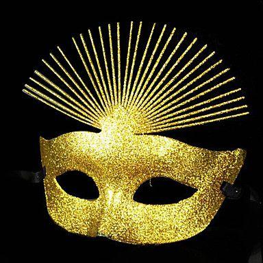 Glitters luxuoso Golden Holiday PVC Máscara meio rosto -