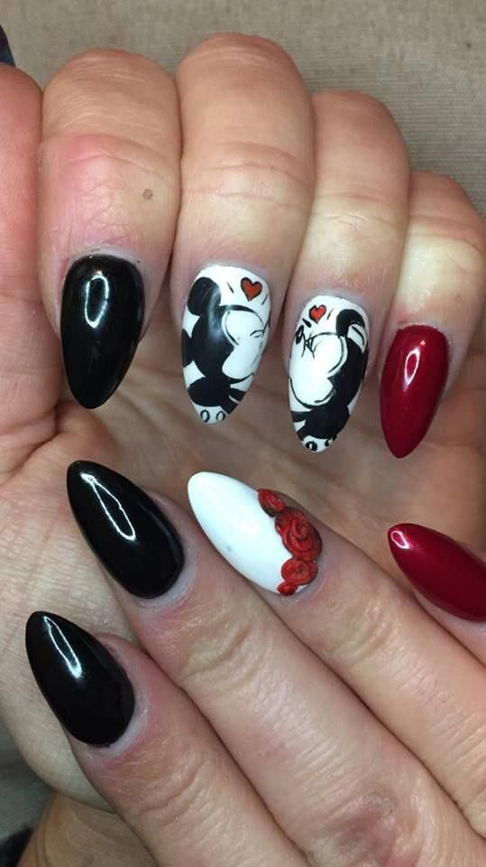Black Red Romantic Disney Nails Nexgennails Disney Acrylic Nails Disney Nails Nail Art Designs