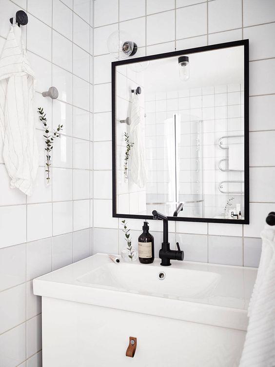 Main Floor Bathroom Ikea Cabinet Black Faucet Simple Mirror Scandinavian Interior Design Ordinary