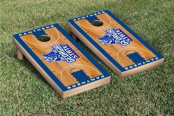 Our Georgia State University Panthers Cornhole Game Set Basketball Version. Get your custom set at victorytailgate.com