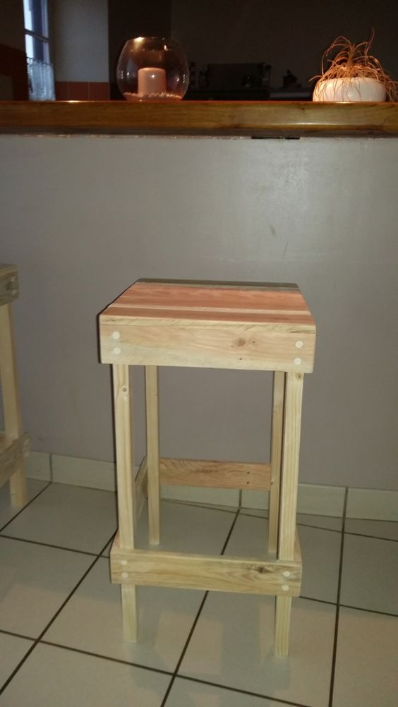 tabouret de bar en bois de palette mon bricolage pinterest bar. Black Bedroom Furniture Sets. Home Design Ideas