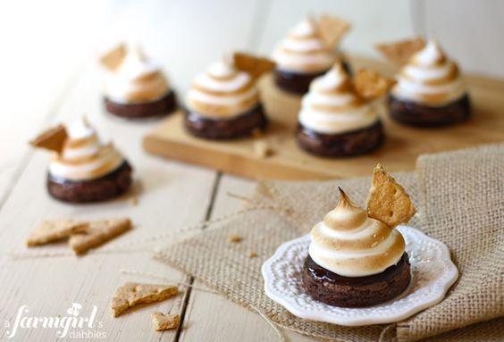 Fudgy S'more Brownies with Toasted Marshmallow Meringue @Brenda - a farmgirl's dabbles