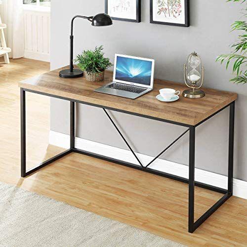 Foluban Rustic Industrial Computer Desk Wood And Metal Writing