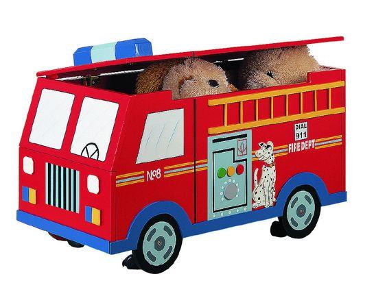 Teamson Kids - Trains & Trucks Fire Engine Toy Box W-4007A