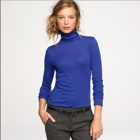 J.Crew Tissue Turtleneck Tee New tissue turtleneck tee from J.Crew. This turtleneck is so comfortable and lightweight. 100% cotton. Size XXS. Never worn. I don't think this shade of blue suits me so that's why I'm selling! No trades! J. Crew Sweaters Cowl & Turtlenecks