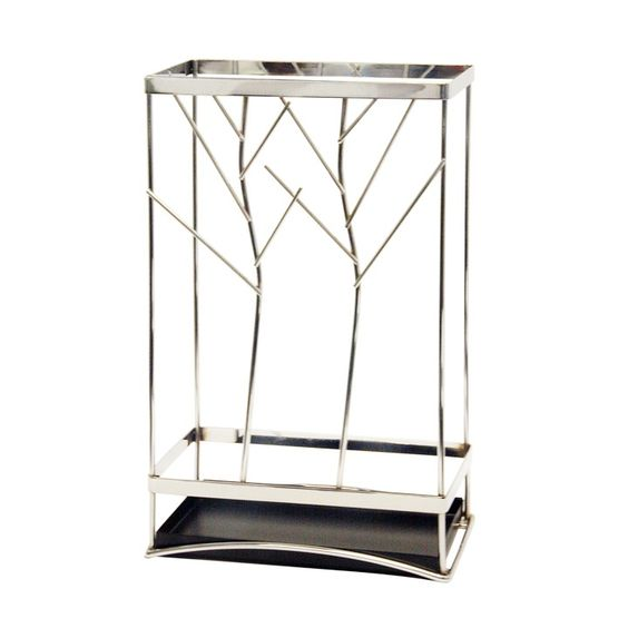 Contemporary chrome plated metal umbrella stand.