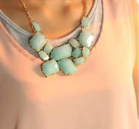 Bubble Statement Necklace,holiday Party,bridesmaid Gift,bubble Necklace,beaded Jewelry With Chain #mint