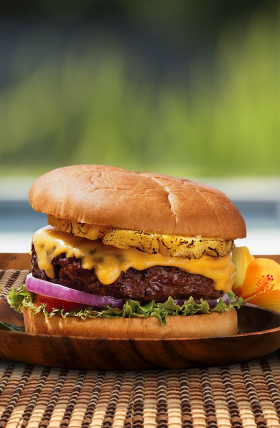 Grilled pineapple and a spicy aioli sauce give this simple burger some serious wow-factor.