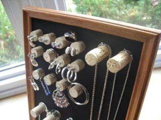 use wine corks to organize jewelry