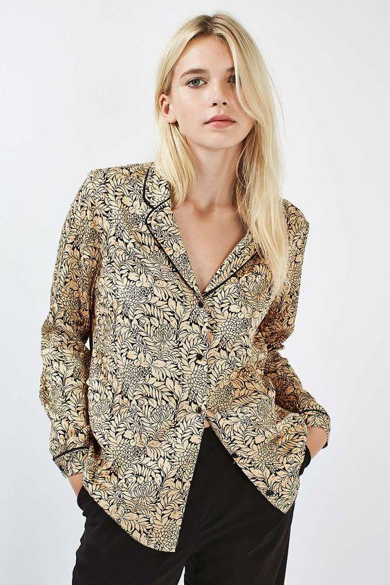 Gold Leaf Pyjama Shirt - Topshop USA: