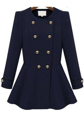 Double Breasted Flouncing Woolen Navy Coat
