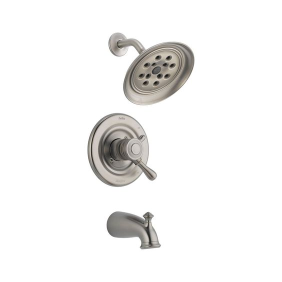 View the Delta T17478-H2O Leland Monitor 17 Series Dual Function Pressure Balanced Tub and Shower Trim Package with H2Okinetic Shower Head and Integrated Volume Control - Less Rough-In Valve at FaucetDirect.com.