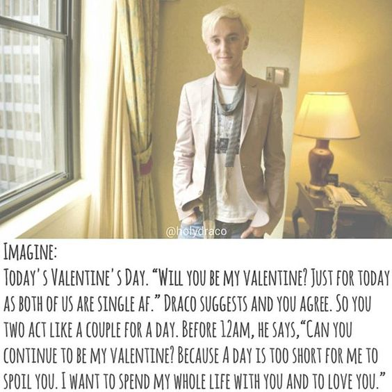 Instagram photo by holydraco - Long time no update. Come back with a v day themed imagine. I hate the fact that i have to delete so many words to fit the text into the pic. Hope you like it and have a nice day with your fictional boys like i do  _____________ #dracomalfoy #dracoimagine #dracomalfoyimagine