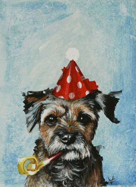 Border Terrier Painting Party Animal Painting Mixed Media