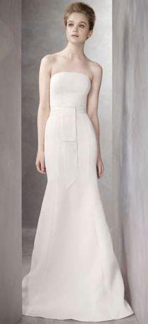 Twill Gazar Mermaid Gown with Grosgrain Sash. White by Vera Wang