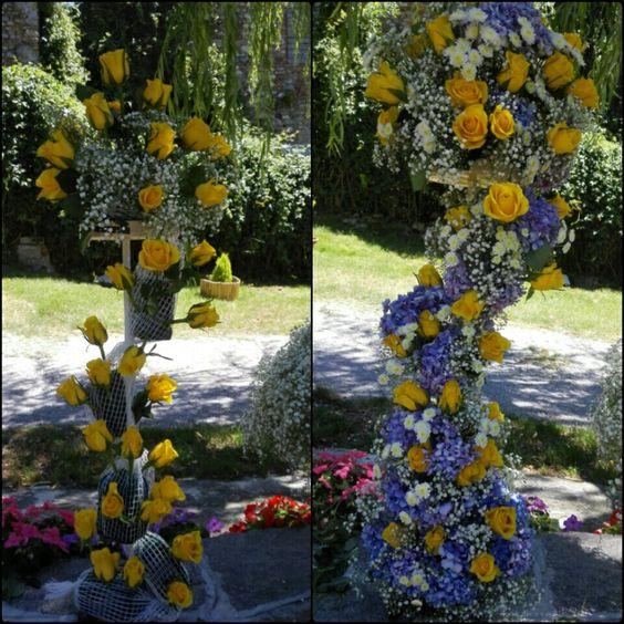 Before and after ...yellow roses and lilac hydreagea wedding centerpieces.