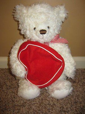 """Hallmark """"From My Heart"""" Valentine White Plush Bear w/Red Heart Pouch 14"""""""