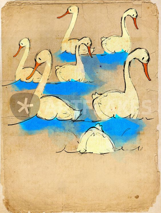 """Swans a' swimming"" Graphics/Illustration art prints and posters by Imogen Henlich - ARTFLAKES.COM"