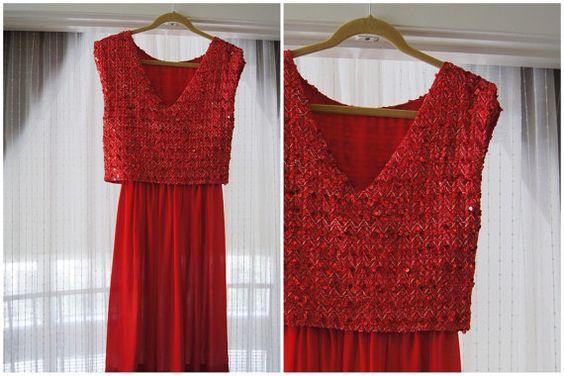 Vintage Red Crop Top Pailletten Kleid  Größe 6  von 7ClosetsVintage, 15,06€