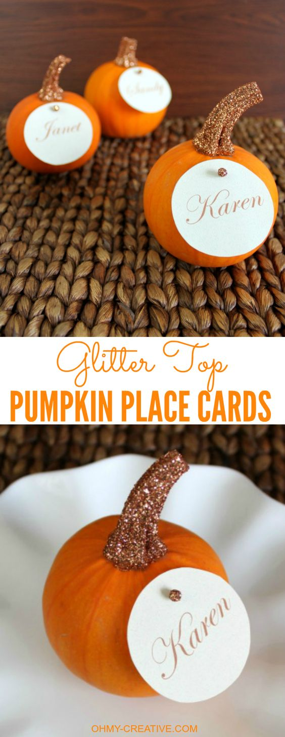 Easy to Create Glitter Top Pumpkin Place Cards for Fall or Thanksgiving entertaining | OHMY-CREATIVE.COM: