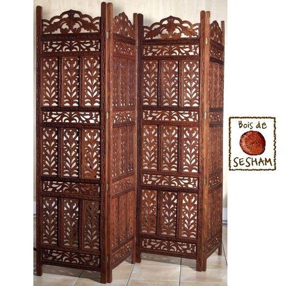 Superbe paravent oriental en bois de sesham enti rement sculpt la main a - Paravent oriental bois ...
