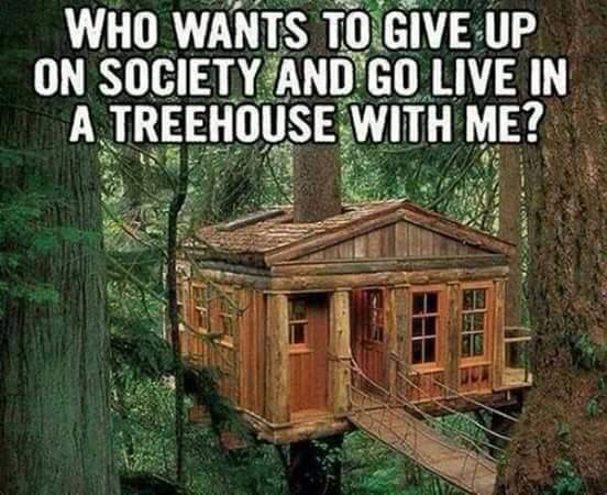 I don't want to give up on people, I just want to live in a tree house