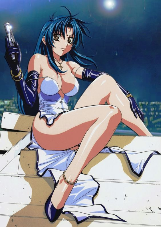 1girl absurdres anklet bare_shoulders blue_hair bracelet breasts brown_eyes chidori_kaname city cross derivative_work elbow_gloves full_metal_panic! gloves gun high_heels highres jewelry large_breasts legs long_hair long_legs photoshop shoes sitting smile solo stairs strap_slip weapon