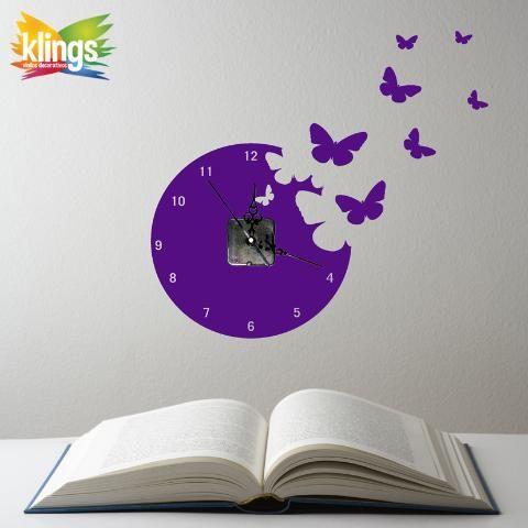 Vinilos decorativos reloj de pared mariposa con maquina for Vinilos juveniles nina
