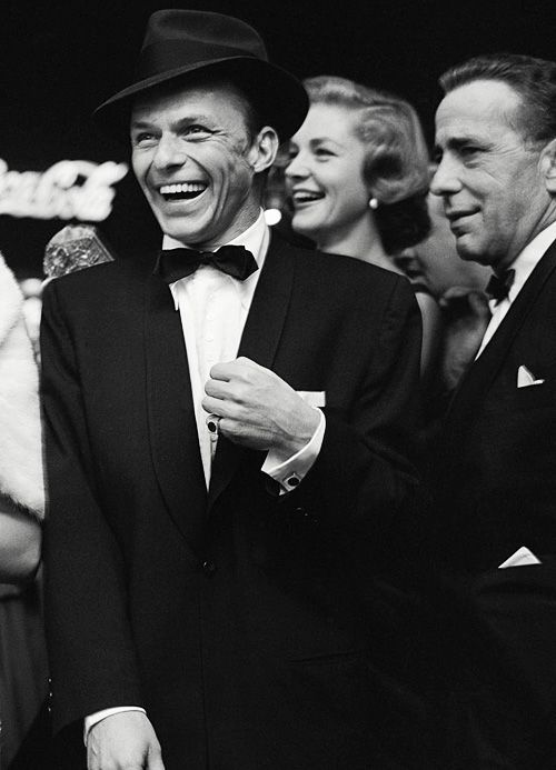 Frank Sinatra, Humphrey Bogart, and Lauren Bacall. Iconic picture.