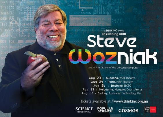 We are so excited to have Steve Wozniak back for an evening with him hosted by Think Inc. Get your tickets now before they sell out like hot cakes this August 2016.