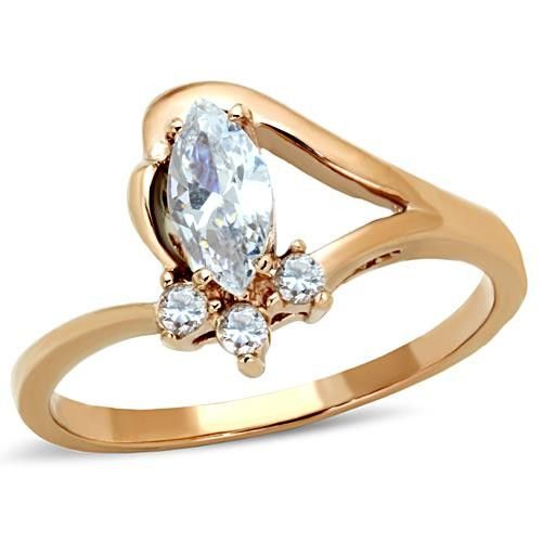 Rose Gold Stainless Marquise CZ Ring