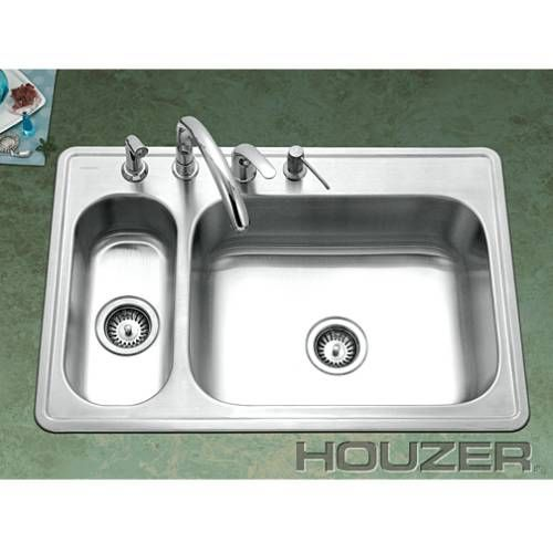 Houzer LHD-3322-1 Legend Stainless Steel 80 20 Double Bowl Sink