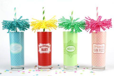 Fringe (fireworks) drink toppers for straws