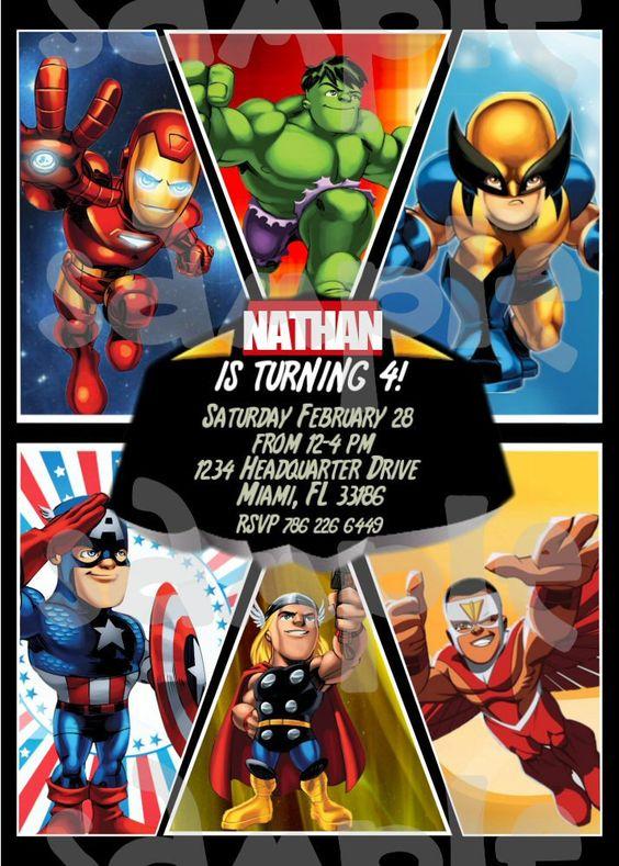 Super Hero Squad Birthday Invitation.