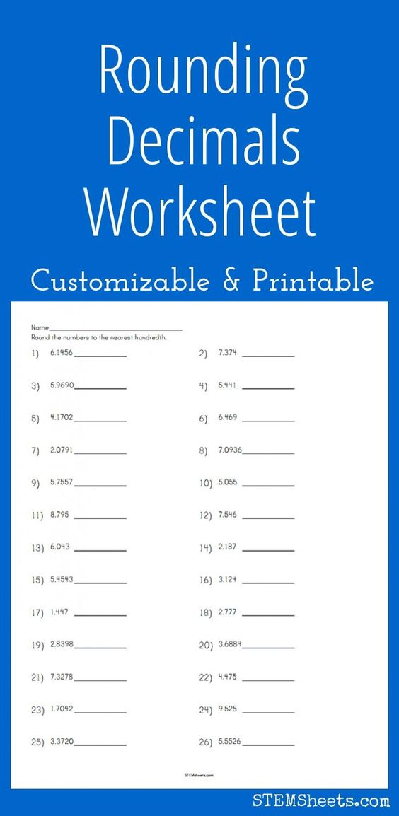 customizable and printable rounding decimals worksheet math stem resources pinterest math. Black Bedroom Furniture Sets. Home Design Ideas