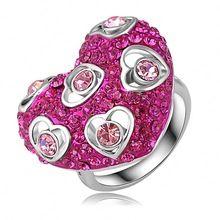 Vin rouge couleur cristal bague coeur plaqué véritable SWA éléments cristaux autrichiens anneaux Ladies cadeaux For Love ri - hq0297(China (Mainland))