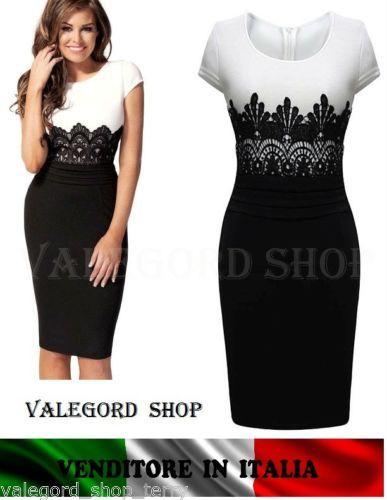 Abito-tubino-elegante-cerimonia-dress-retro-vestito-pizzo-bianco-nero-vintage-50   13a916c991a
