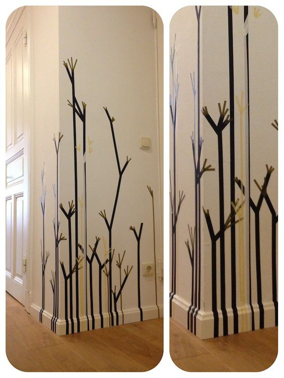 abstract plants as a wall decoration, made of masking tape/ washi tape _ hamburgvoninnen.de