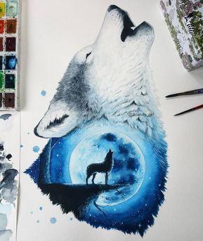 La Luna Y El Lobo Pinturas Y Dibujos De Animales De Tecnica Mixta De Jonna Lammi Animales Tiernos En 2020 Pintura Y Dibujo Dibujos De Animales Dibujos
