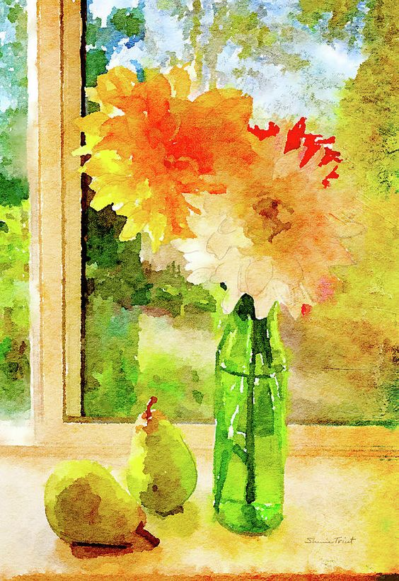Sherrie Triest. Dahlias and Pears in our Window