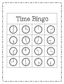 Telling Time Bingo Game (to the hour and half hour) | To tell ...
